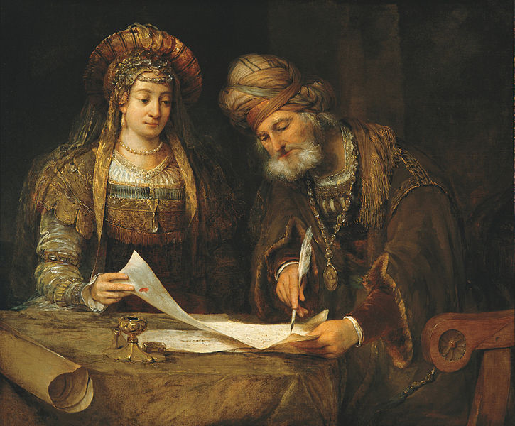 Esther and Mordecai writing the first letter of Purim courtesy of Wikicommons.