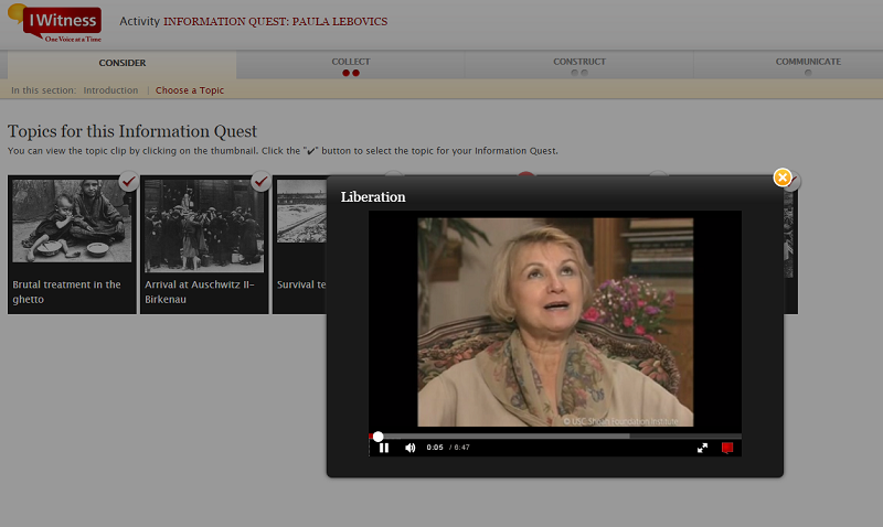A screen grab from the Information Quest: Paula Lebovics