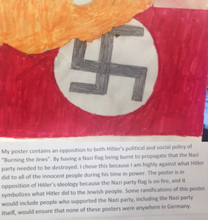 An anti-Nazi piece one of my student's constructed in our lesson. The idea was protesting Nazi ideaology.