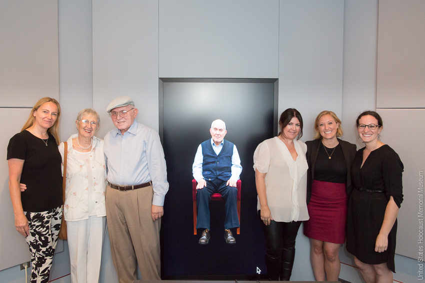 (L-R) Karen Jungblut from USC Shoah Foundation, Dorothy Gutter, Pinchas Gutter, Heather Maio and Kia Hays of USC Shoah Foundation with Elissa Frankle at the NDT display at the Holocaust Museum. Photo Credit: U.S. Holocaust Memorial Museum