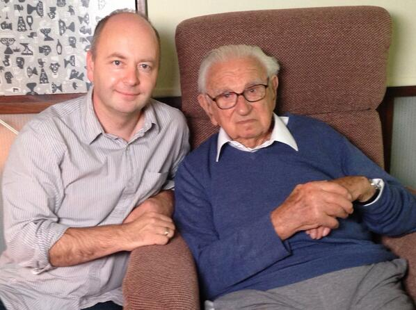 Stephen Smith and Nicholas Winton at the recording of his interview to be preserved in the Visual History Archive.