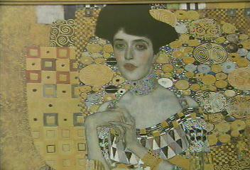 A poster of the famous Woman in Gold painting show in Maria Altmann's testimony.
