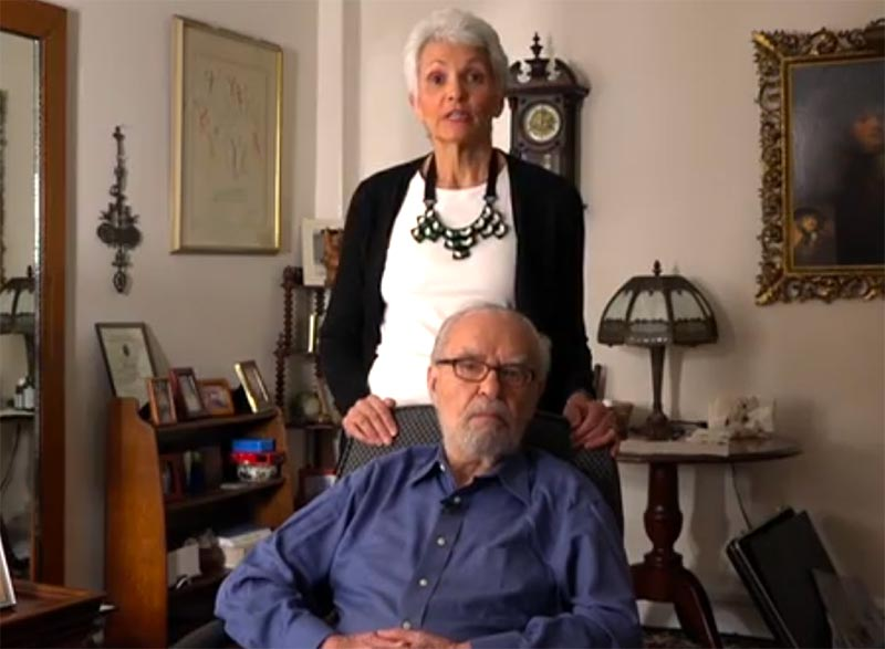 USC Shoah Foundation interviewer and donor Nancy Fisher with Holocaust survivor Joseph Feingold during the filming of his interview on August 2017 for the Last Chance Testimony Collection.