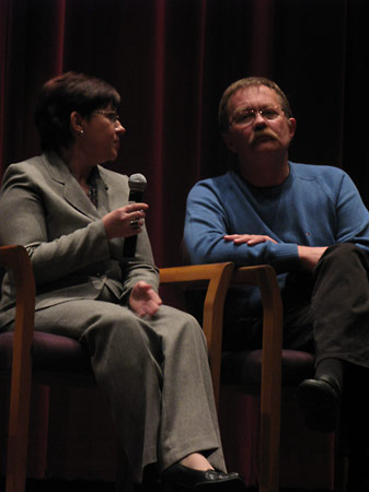 Inna Gogina, Institute International Programs Coordinator, with the film's director, Sergei Bukovsky, during the post-screening discussion panel.