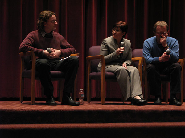 Crispin Brooks, Institute Archive Curator; Inna Gogina, Institute International Programs Coordinator; and the film's director, Sergei Bukovsky, on the panel that followed the screening.