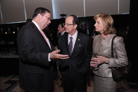 David Cohen, Executive Vice President of Comcast Corporation; C.L. Max Nikias, President of USC; and Niki Nikias