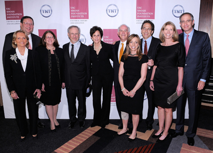 From left: David Cohen, Executive Vice President of Comcast Corporation; Rena Rowan-Damone, Event Vice-Chair; Rhonda Cohen; Steven Spielberg; Sandy Cozen, Event Co-Chair; Steven A. Cozen, Event Co-Chair and USC Shoah Foundation Institute Board of Councilors Member; Marcy B. Gringlas, Benefit Committee Chair; Joel Greenberg, Benefit Committee Chair; Aileen Roberts; and Brian L. Roberts