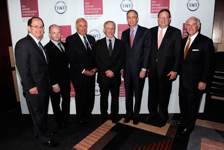 C.L. Max Nikias, USC President; Stephen D. Smith, USC Shoah Foundation Institute Executive Director; Ed Rendell, former Governor of Pennsylvania; Steven Spielberg; Brian L. Roberts; David Cohen, Executive Vice President of Comcast Corporation; and Steven A. Cozen, Event Co-Chair and USC Shoah Foundation Institute Board of Councilors Member