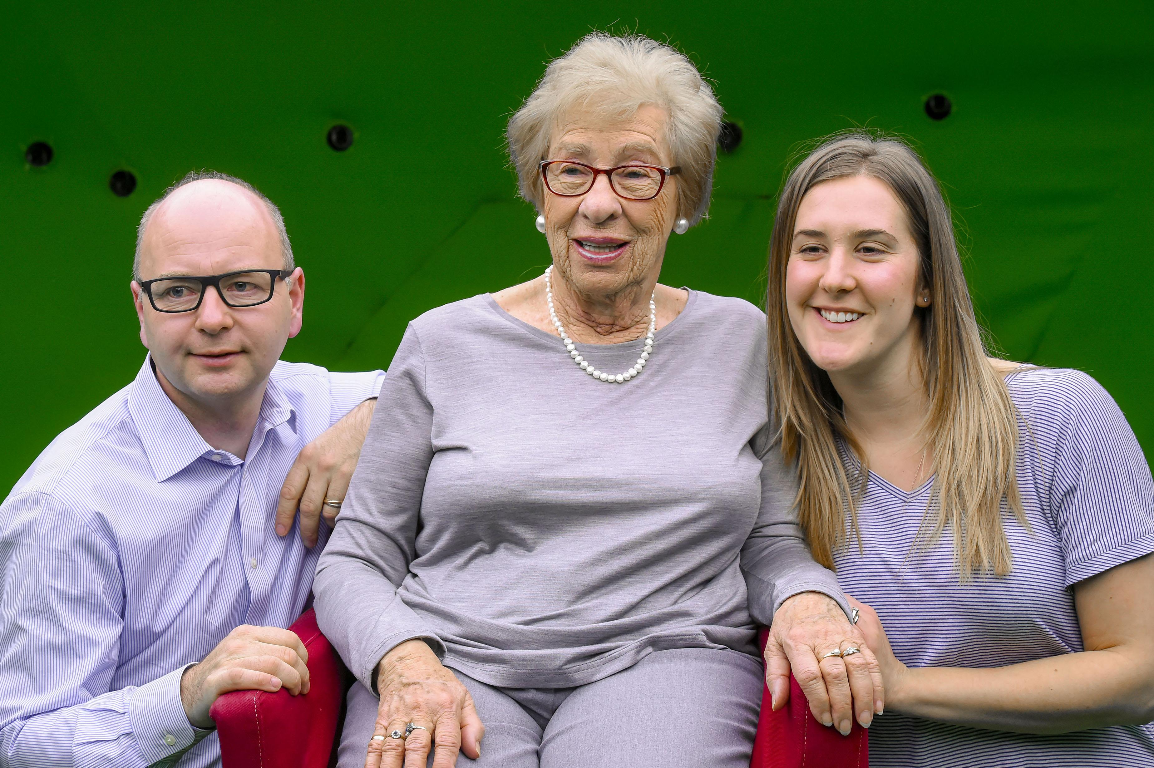 From left, Stephen Smith, Eva Schloss and Eva's granddaughter Lisa Heiler