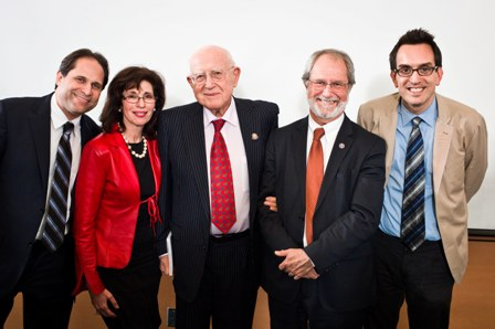 From left:  Ari Zev, USC Shoah Foundation Institute Director of Administration; Madeleine Levy, Co-Chair of the Holocaust Education Committee, Hamilton Jewish Federation; Branko Lustig, Oscar-winning producer and Holocaust survivor; Patrick Dean, President of McMaster University; and Noah Shenker, Postdoctoral Fellow, McMaster University, Archives and Research Collections.