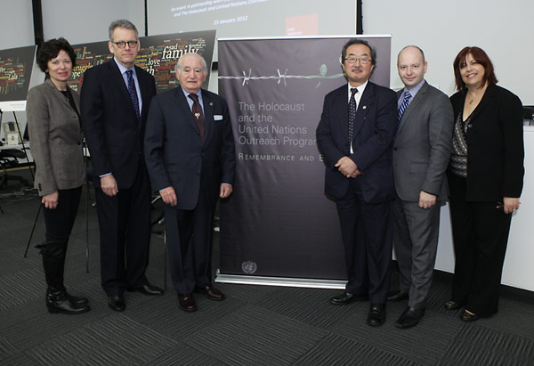 From left:  Kimberly Mann, Manager of the Holocaust and the United Nations Outreach Programme; Ambassador Jeffrey DeLaurentis, U.S. Alternate Representative for Special Political Affairs; Roman Kent, survivor of the Holocaust; Kiyotaka Akasaka, United Nations Under Secretary-General for Communications and Public Information; Stephen D. Smith, USC Shoah Foundation Institute Executive Director; and Sherry Bard, USC Shoah Foundation Institute Project Director, Educational Programs.