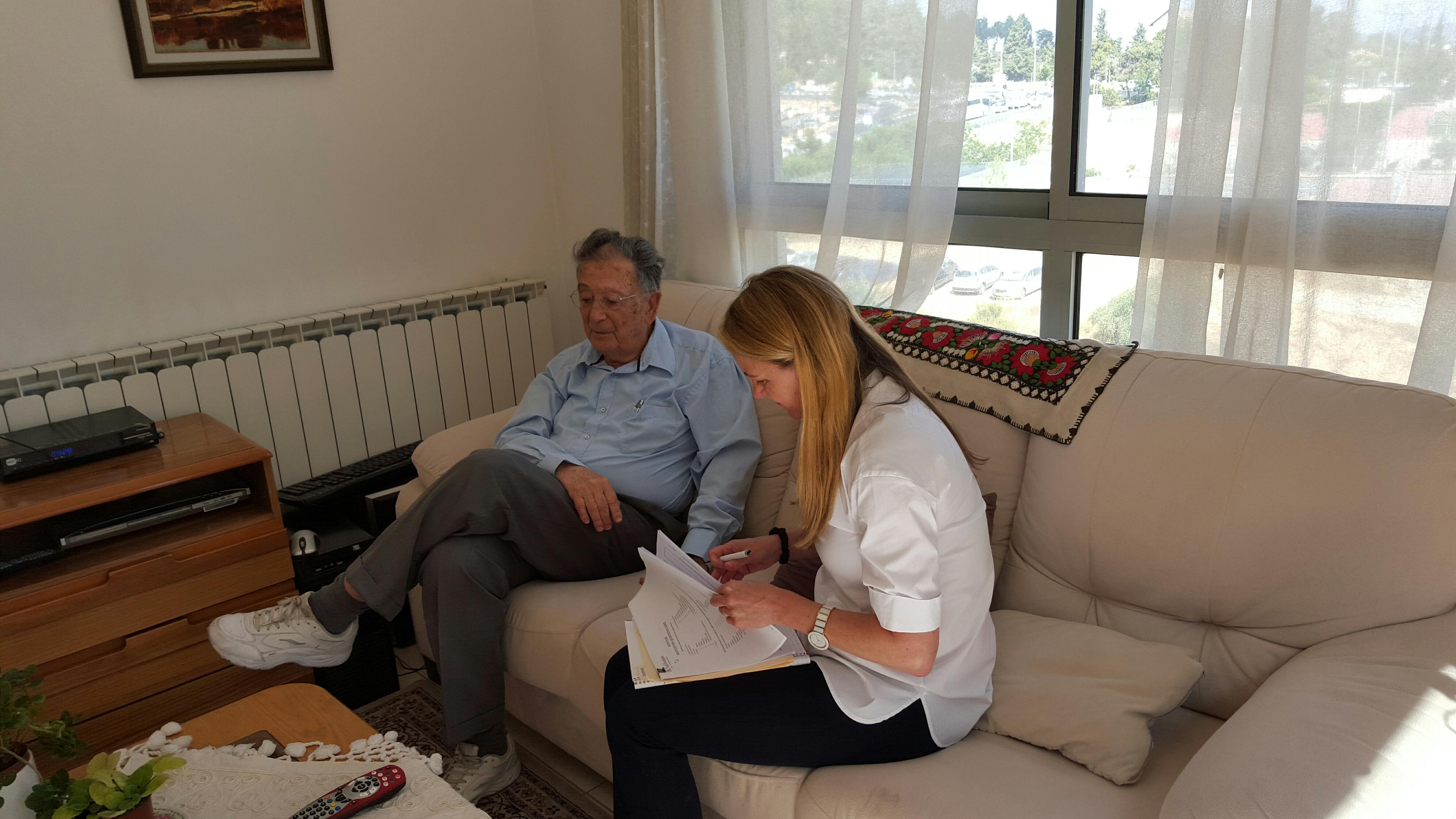 Karen Jungblut interviews Yehuda Bauer in Jerusalem, June 29, 2015