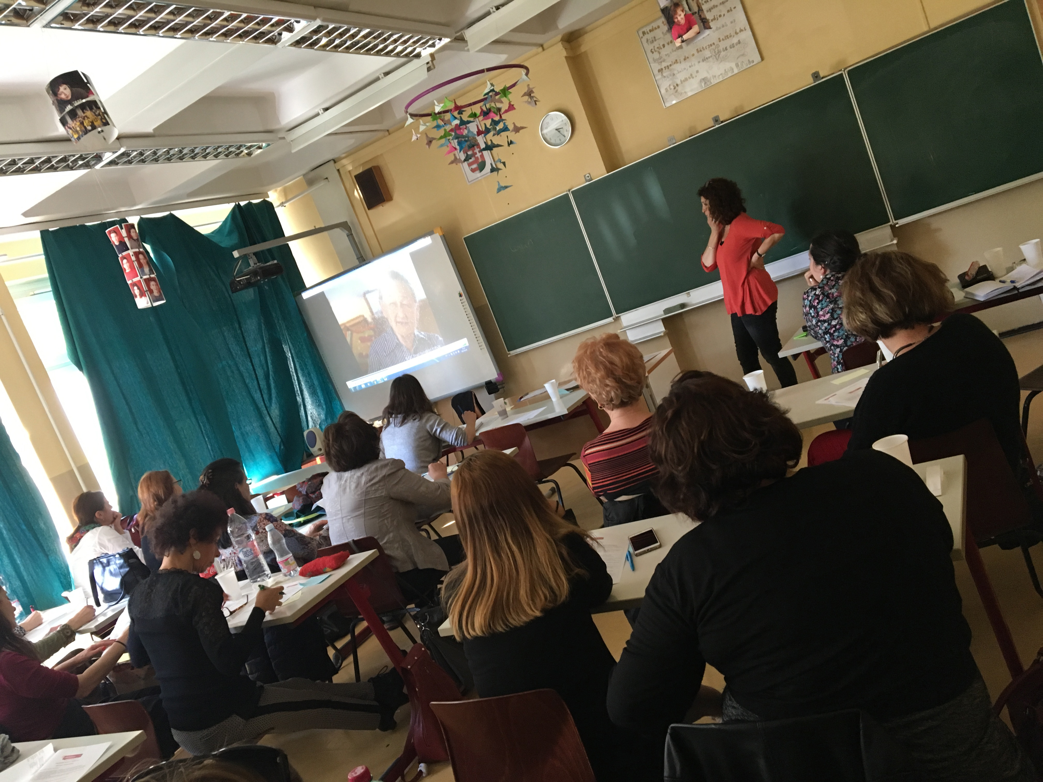 Andrea Szonyi leads the educators in the new IWitness activity