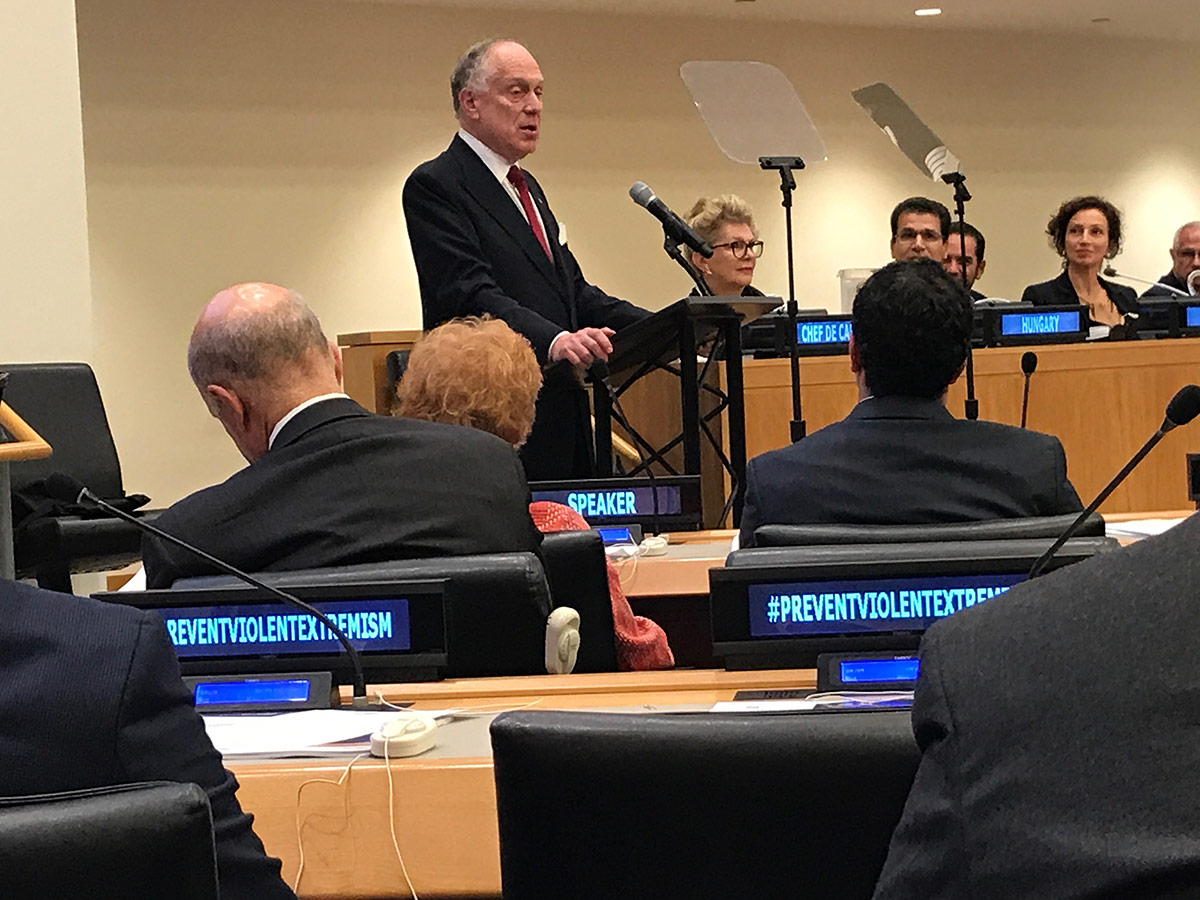 Ronald S. Lauder, President of the Word Jewish Congress, speaking to the general assembly
