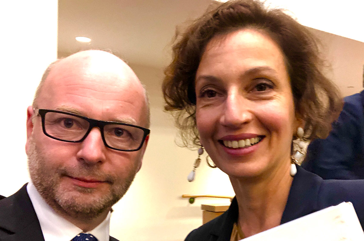 Stephen D. Smith, USC Shoah Foundation Finci-Viterbi Executive Director, with Audrey Azoulay, UNESCO Director-General