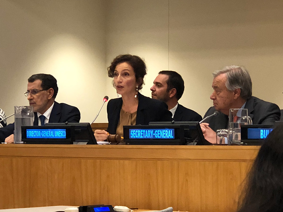 UNESCO Director-General Audrey Azoulay speaking before the general assembly