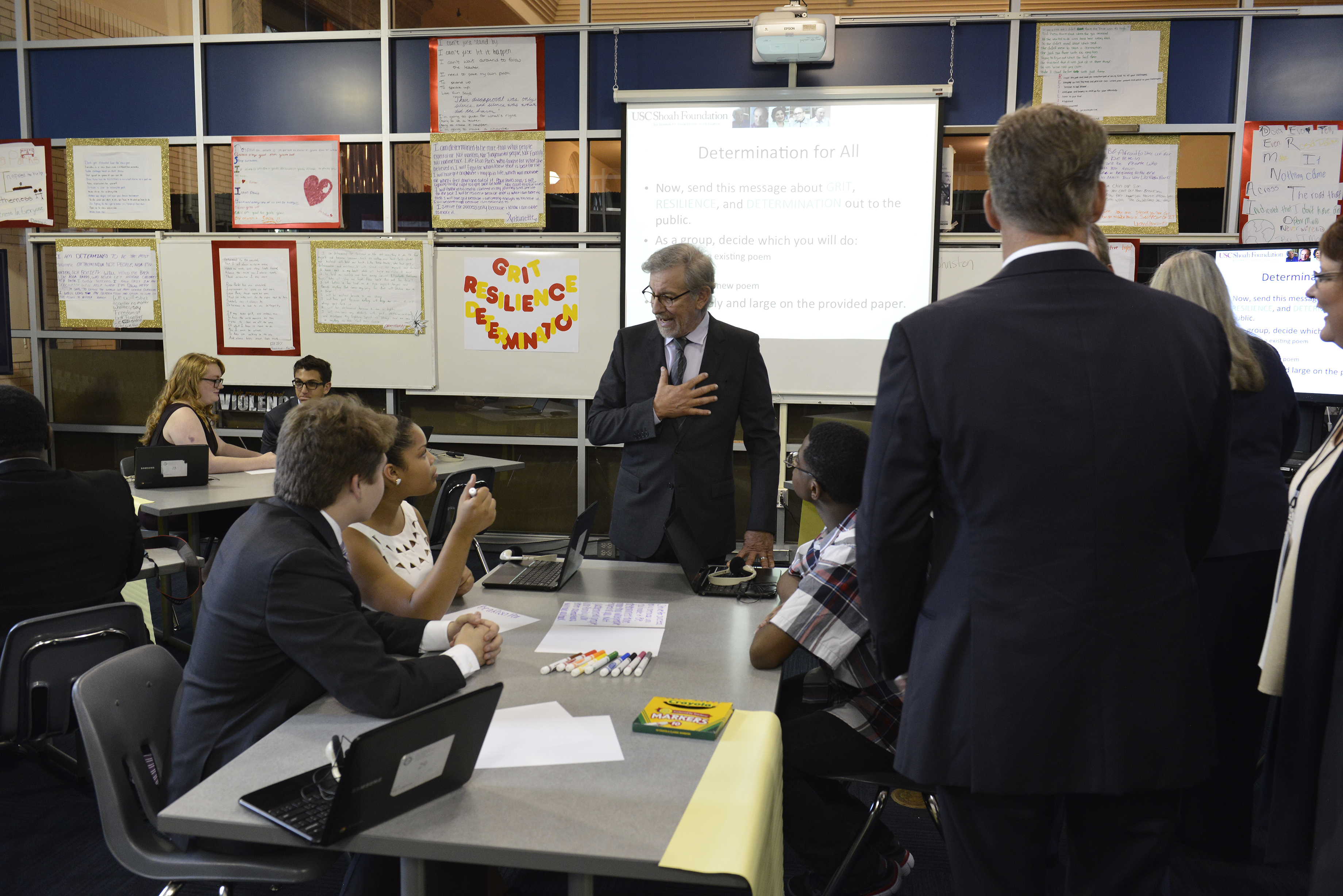 Steven Spielberg meets students in the Classroom Experience