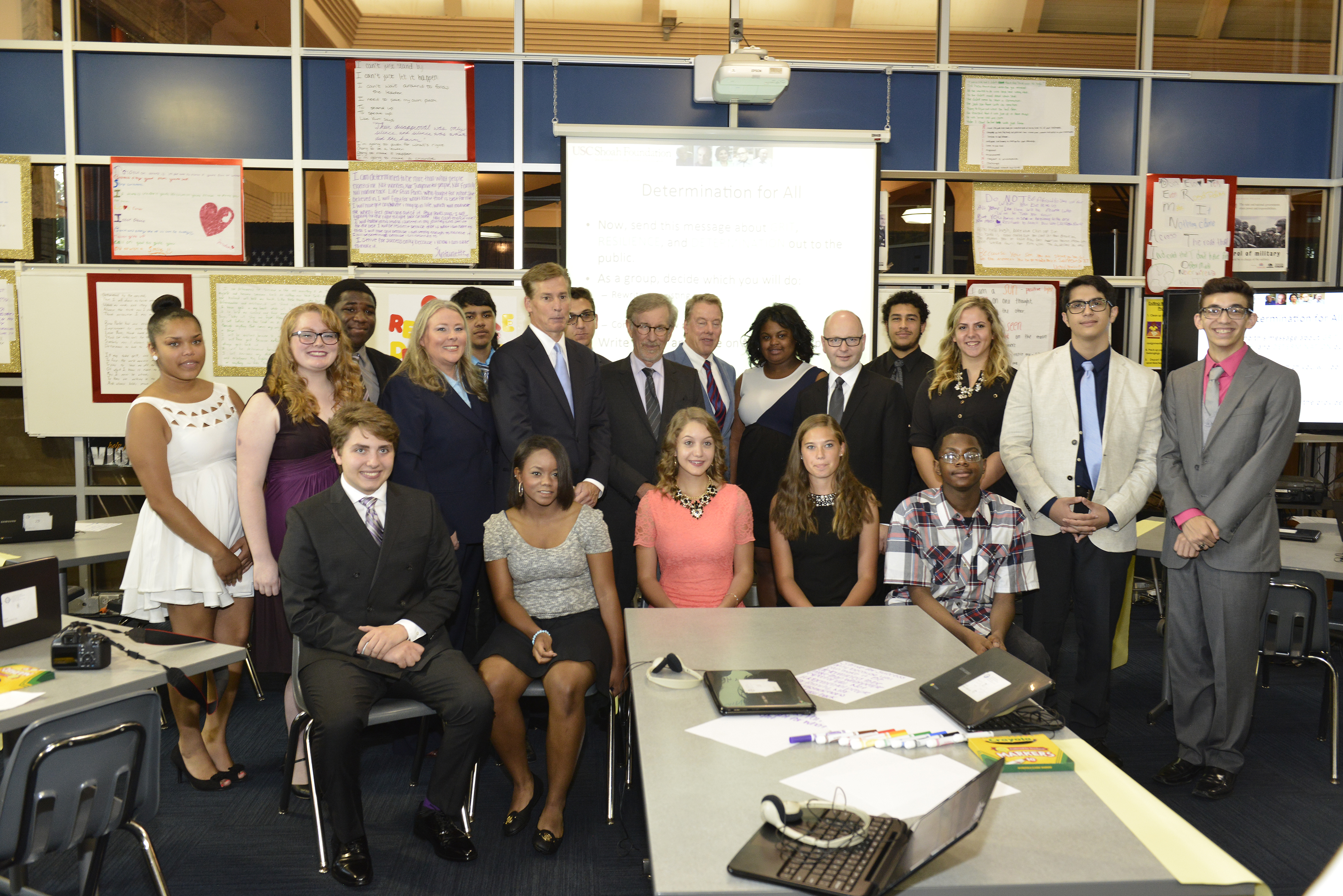 IWitness Detroit students with Bill Goodwyn of Discovery Education, Ford Motor Company Executive Director Bill Ford, USC Shoah Foundation founder Steven Spielberg and Executive Director Stephen Smith