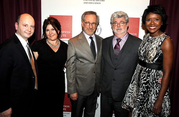 USC Shoah Foundation Institute Executive Director Stephen Smith; Heather Maio; Steven Spielberg; George Lucas; and Mellody Hobson.