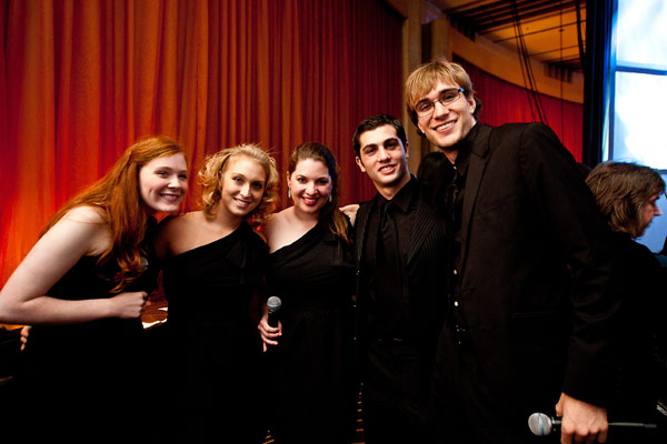Members of USC Student Chorus hanging out backstage.