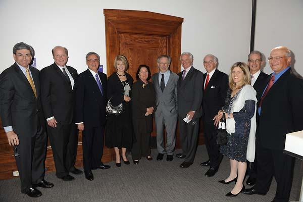 Left to right:  Robert Katz, Institute Board of Councilors (BOC) member; Howard Gillman, Dean of USC College of Letters, Arts and Sciences; Mickey Shapiro, Institute BOC member; Phyllis Epstein, Institute BOC member; Erna Viterbi, Institute BOC member; Steven Spielberg, Founding Chairman of the Shoah Foundation and Honorary Chair of BOC; Bruce Ramer, Institute BOC member; Stephen Cozen, Institute BOC member; Kim Simon, Institute Interim Executive Director; Michael Rutman, Institute BOC member; and Yossie Hollander, Institute BOC member.