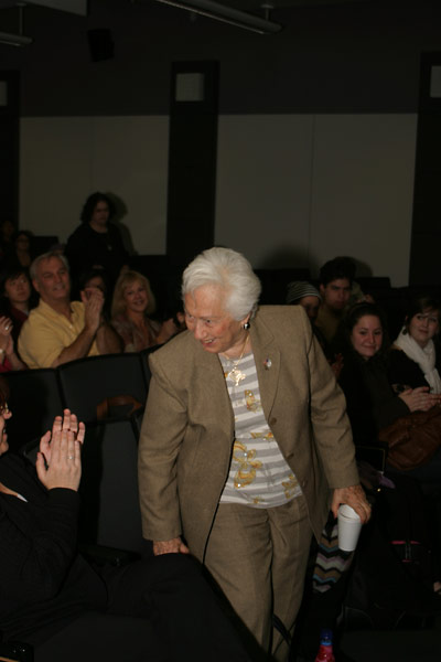 The audience took a moment to acknowledge Renée Firestone and other Holocaust survivors who attended the event.