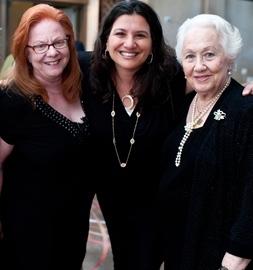 From left:  Clara Firestone, Bonnie Samotin Zev, and Holocaust survivor and educator Renée Firestone.
