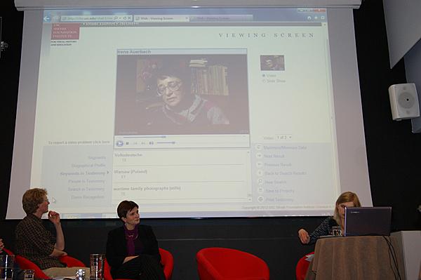 Anna Maciąg, program officer at History Meeting House, demonstrates VHA search functionality.