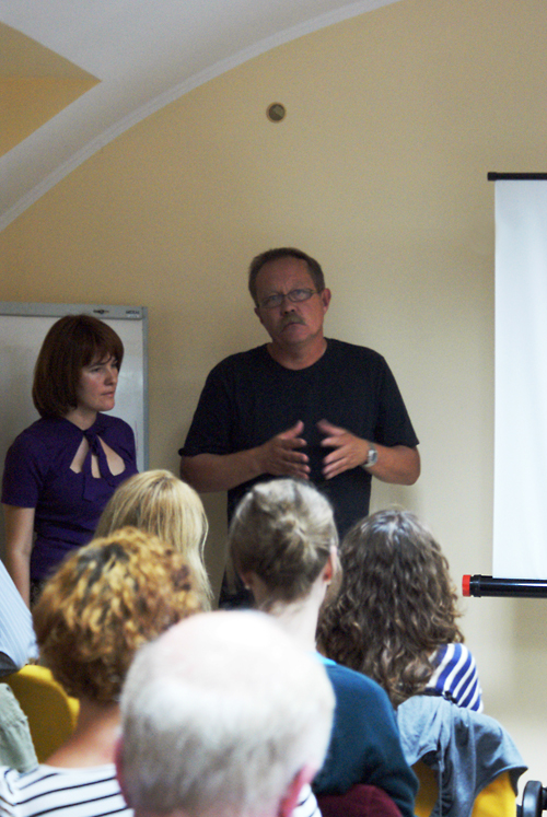 Film director Sergey Bukovsky and Institute Regional Consultant in Ukraine Anna Lenchovska present Spell Your Name at the 2011 International Forum.