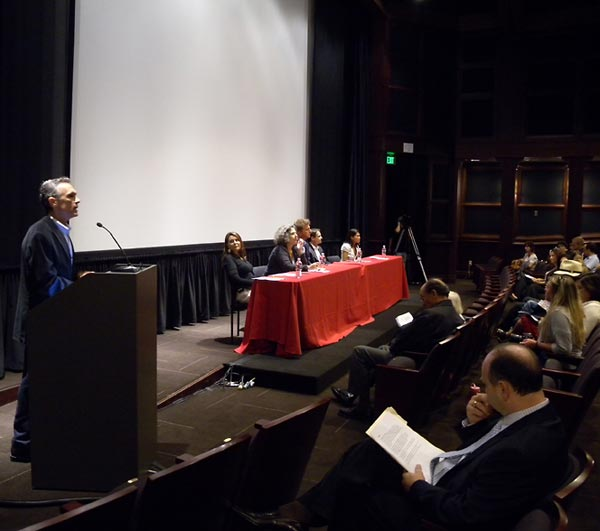USC School of Cinematic Arts Associate Dean Michael Renov (left) opens the panel and introduces the Institute's new Executive Director, Stephen Smith.