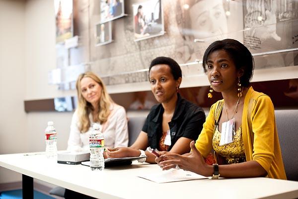 Karen Jungblut, Edith Umugiraneza, and Consolee Uwamariya.