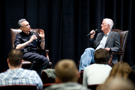 Michael Renov (left), Professor, Vice Dean of Academic Affairs, USC School of Cinematic Arts; and Michael Apted, filmmaker and Student Voices Master Class keynote speaker.