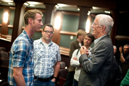 Students speak with Michael Apted (right), filmmaker and Student Voices Master Class keynote speaker.