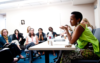 Edith Umugiraneza, whose testimony will eventually become part of the Institute's archive, tells workshop participants about her life before, during and after the genocide in Rwanda.
