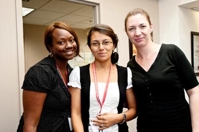 From left:  Myeshia Whigham, an educator at High Tech High Chula Vista in Chula Vista, California; Lesly Culp, an educator at Vista Murrieta High School in Murrieta, California; and Dana Leon, an educator at Valencia High School in Placentia, California.