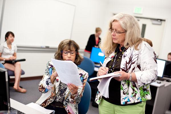 Left to right:  Barbara Jaffe, El Camino College (Los Angeles, California); and Edith Corbell, Rancho Bernardo High School (San Diego, California).