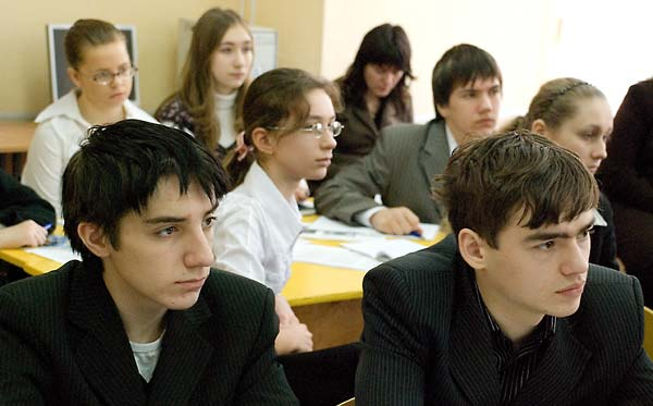 Encountering Memory lesson in Class 9-A, School No. 228, in Kyiv, Spring 2008.