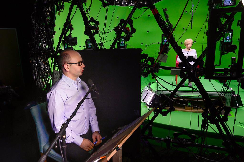 Executive director Stephen Smith interviewing Eva Schloss