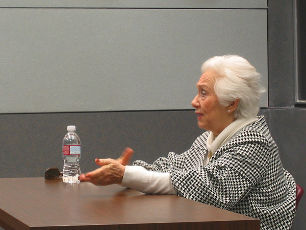 Holocaust survivor Renée Firestone, sharing her story with students from Mission Hills High School of San Marcos.