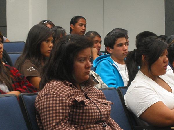 Students from the GEAR UP program at Mission Hills High School listening to Holocaust survivor Renée Firestone.
