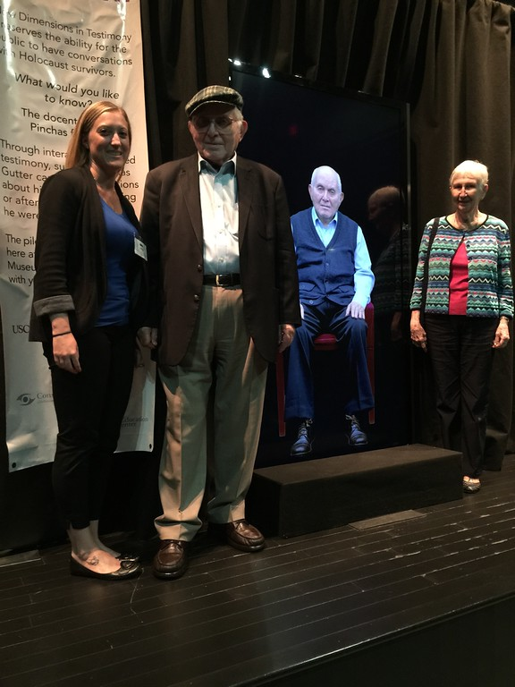 Kia Hays of USC Shoah Foundation posing with Pinchas Gutter