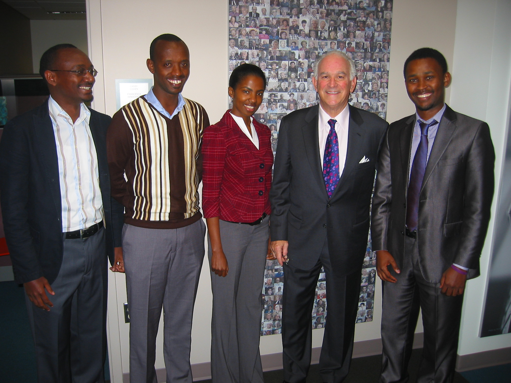 From left:  Paul Rukesha, Martin Niwenshuti, Consolée Uwamariya, Board of Councilors Member Stephen Cozen, and Yves Kamuronsi.
