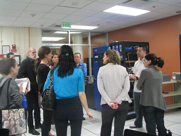 Shoah Information Technology Services representative, Leo Hsu, leads a tour of the USC Shoah Foundation archive.