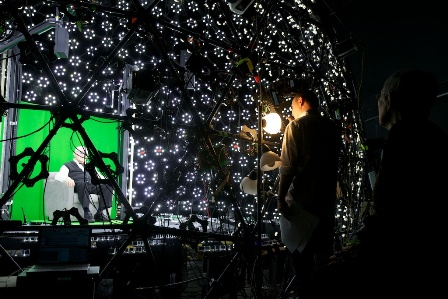 Holocaust survivor Pinchas Gutter (left), inside the light stage used to capture his interview in 3D.