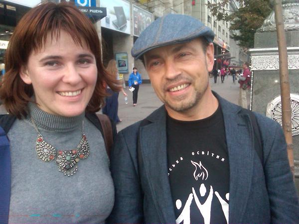 Anna Lenchovska (left), USC Shoah Foundation Institute Regional Consultant in Ukraine, and Oleksandr Voytenko, author of Pain of Memory.