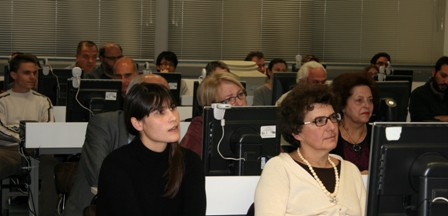 Verena Nagel, Project Manager of the CeDiS Multimedia Archive at Freie Universität Berlin (front, at left), and Olga Katziardi-Hering, Professor of Modern Greek History at the University of Athens.