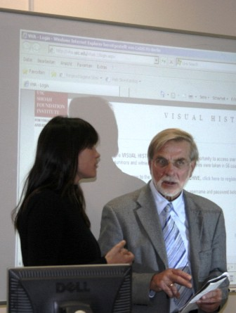 From left:  Verena Nagel, Project Manager of the CeDiS Multimedia Archive at Freie Universität Berlin, and Hagen Fleischer, Professor of Modern History at Athens University, specializing in 20th century Greek history.