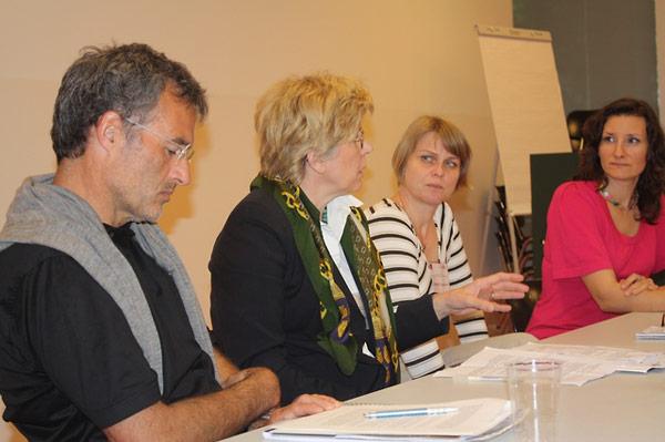 Werner Dreier, Alida Matković, and Monika Vrzgulová discuss challenges of working with video testimony.  Amy Marczewski (far right) facilitates the discussion.