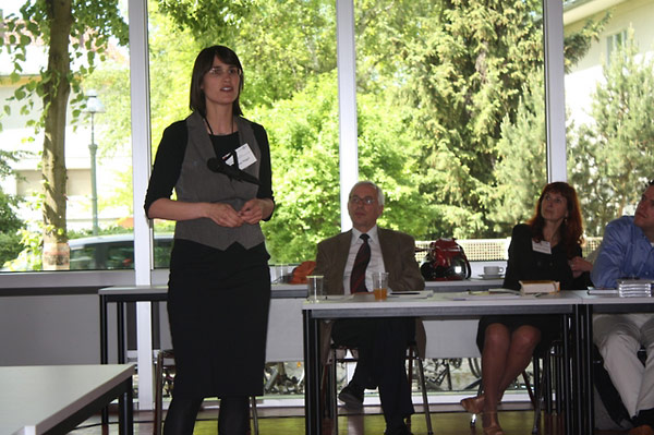 Verena Nägel presents during a session on testimony and technology, while Nicolas Apostolopoulos and Ingrida Vilkienė look on.