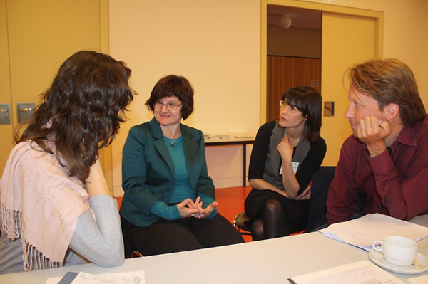 Participants worked in groups during many of the sessions.  Shown are Amy Marczewski, Alicja Białecka, Verena Nägel, and Cord Pagenstecher.